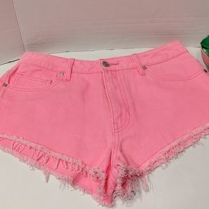 Neon Pink Daisy Duke Jean Shorts New Size Large